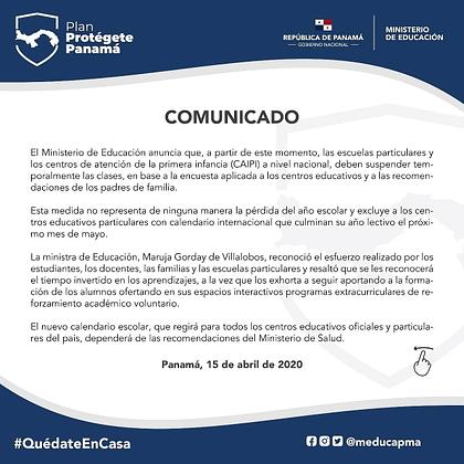 Comunicado oficial MEDUCA 15 de abril de 2020