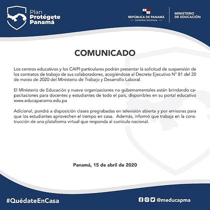Comunicado oficial MEDUCA 15 de abril de 2020 - parte 2