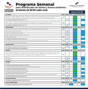 Programa Semanal Panama Solidario - Parte 1 Abril 06 hasta Mayo 03 2020